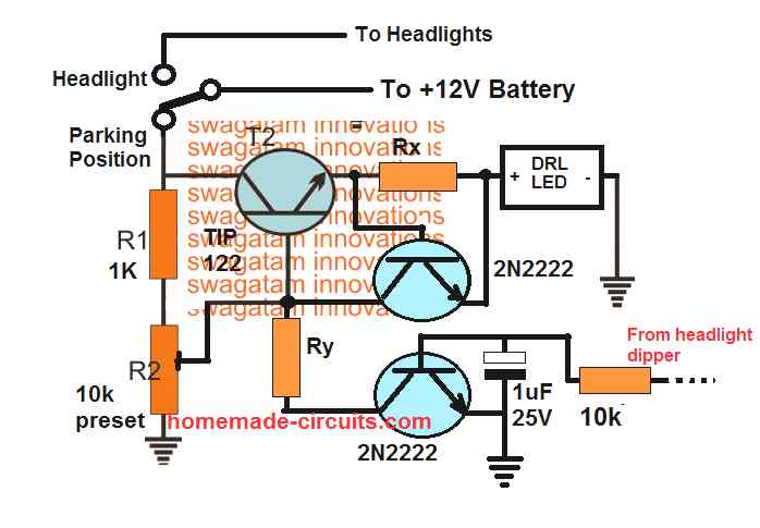 DRL with dimming facility and as parking light