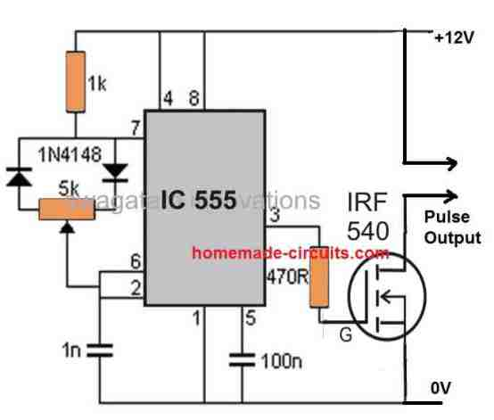 IC 555 PWM pulse generator circuit for HHO cell
