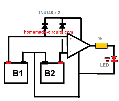 twin battery difference tester circuit