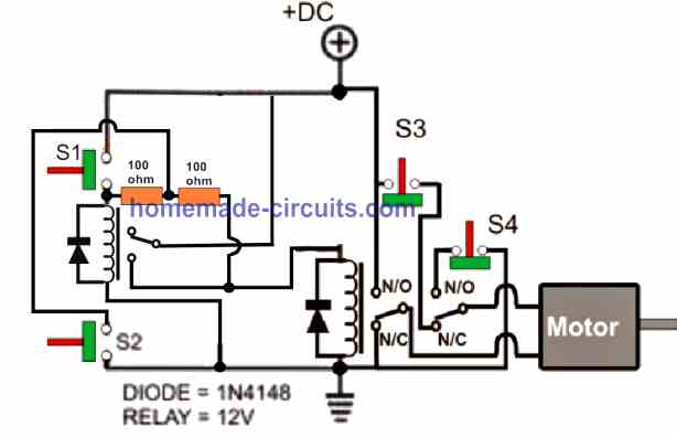 two relay gate open close automatic circuit