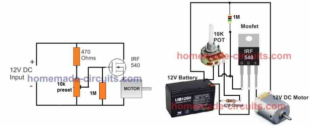 3 Simple DC Motor Speed Controller Circuits Explained | Speed Control Wiring Diagram |  | Homemade Circuit Projects
