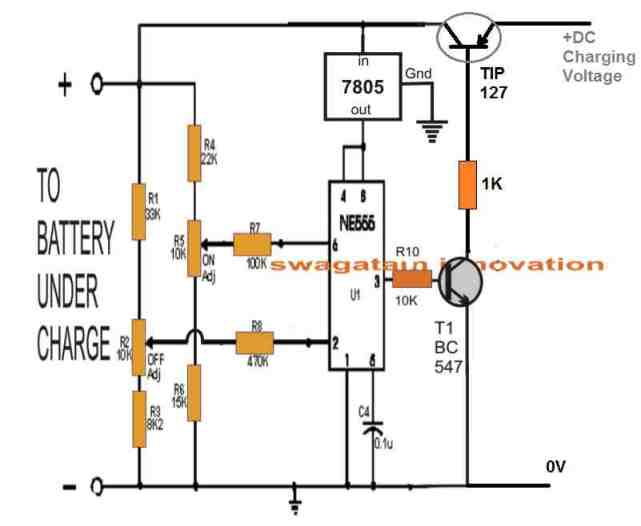 IC 555 solid state lead acid battery charger circuit