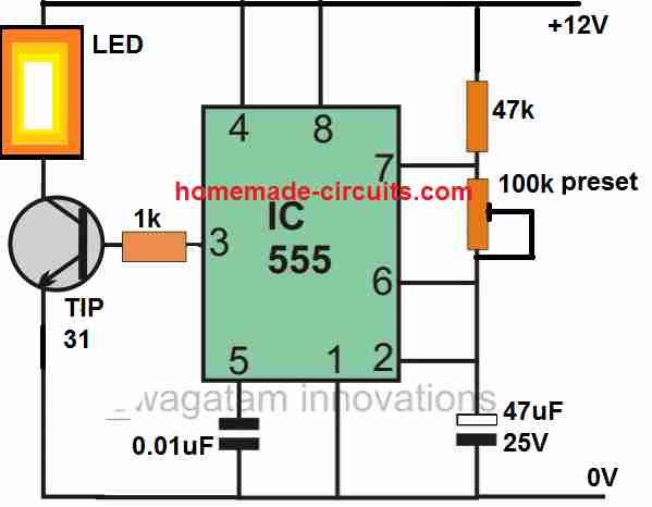 IC 555 strobe light