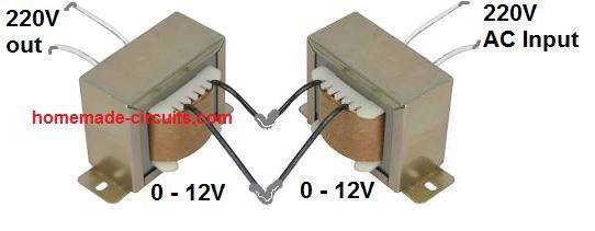 how to connect transformer to get 220V low current output