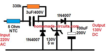 220V to 130 V DC LED driver, constnt current