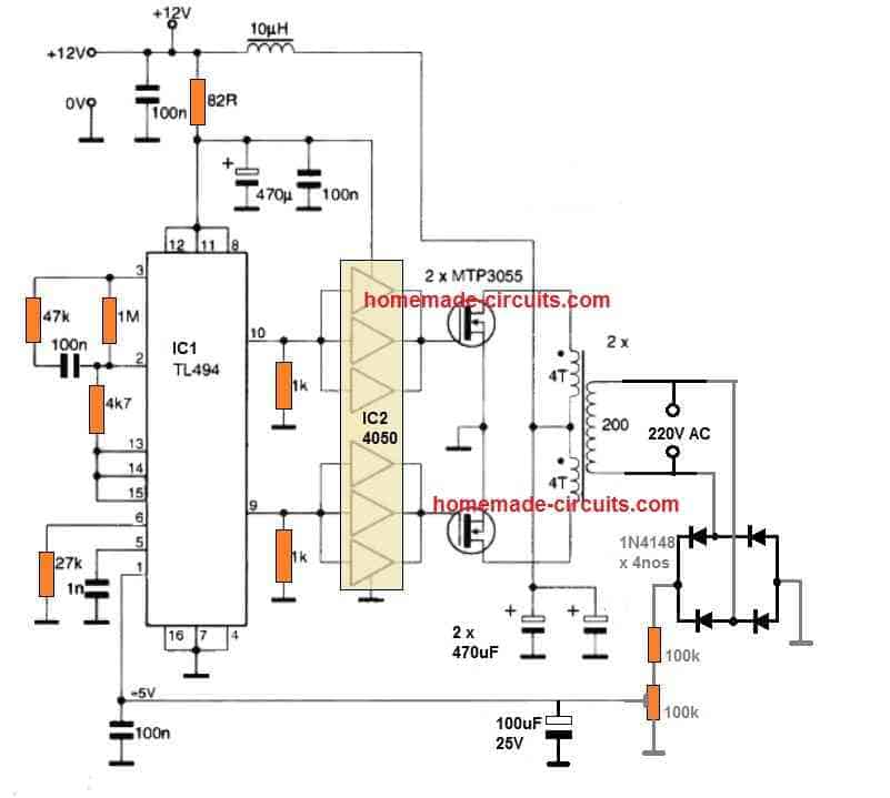 TL494 inverter circuit with feedback automatic constant output voltage correction