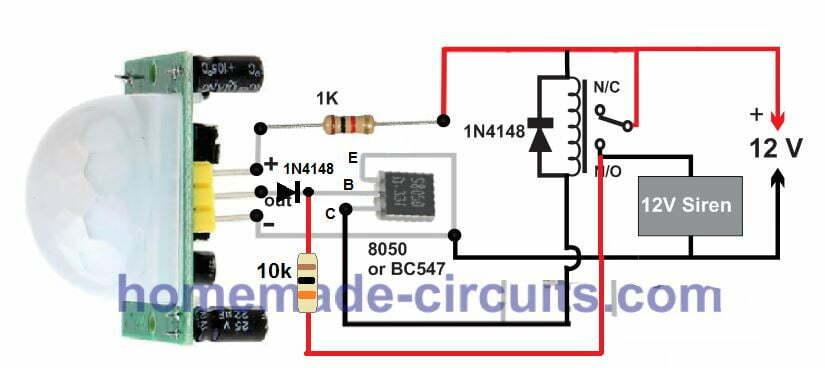 latching PIR relay circuit