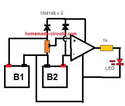 op amp preset control for battery difference detection