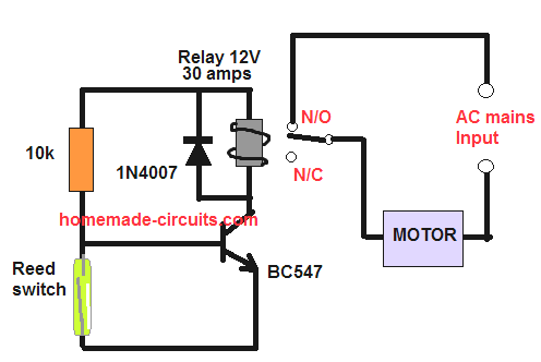 how to wire a float switch reed switch with a relay driver for controlling water pump motor