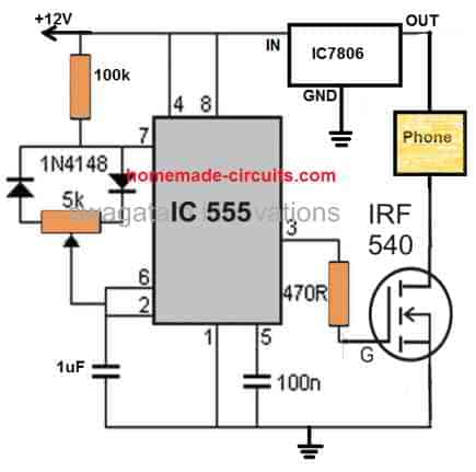 pulsed phone charger circuit