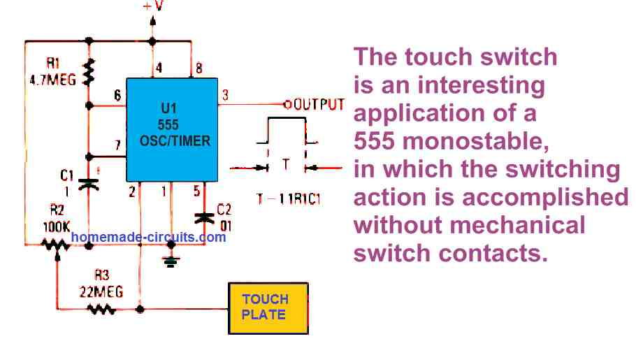 IC 555 monostable multivibrator circuit with touch control