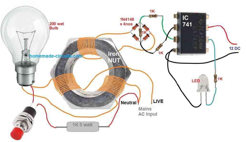 RCCB experiment circuit diagram
