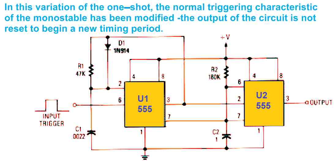 IC 555 monostable multivibrator with retriggerable one shot operation