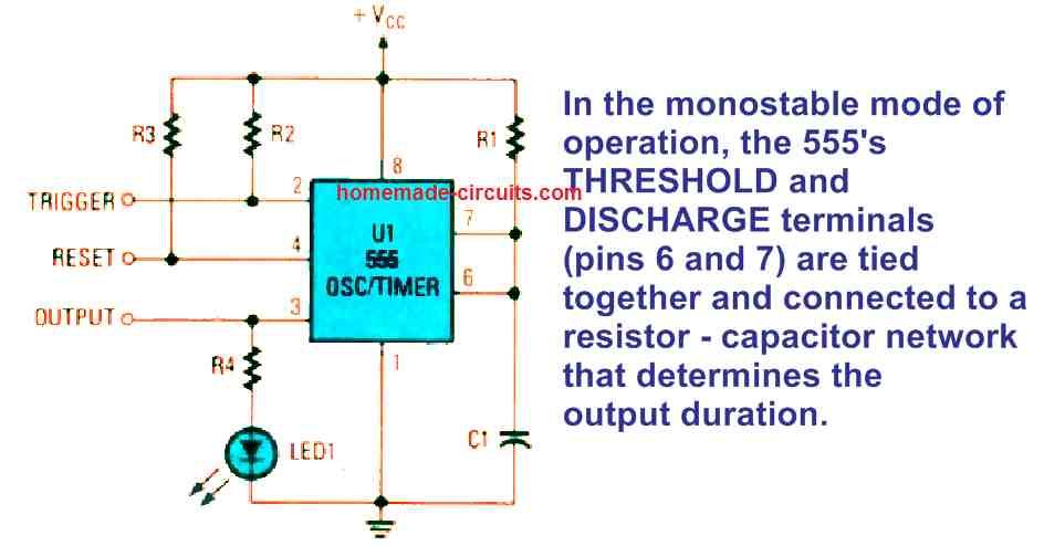 standard IC monostable multivibrator circuit