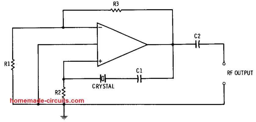 op amp crystal controlled oscillator circuit