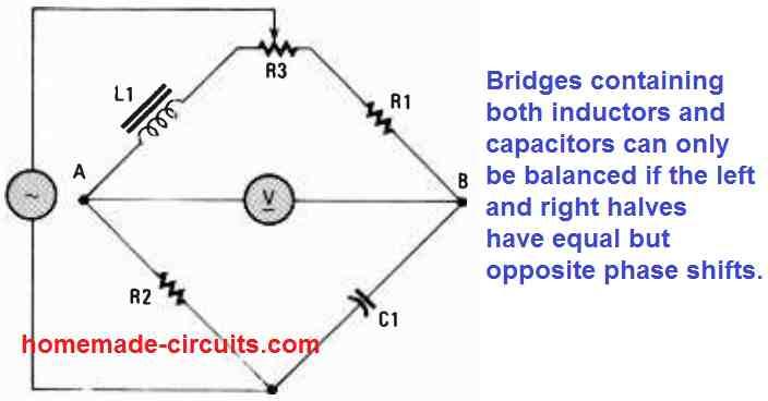 AC bridge circuit using capacitors and inductors