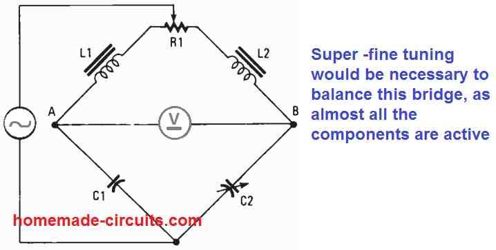 AC bridge circuit using identical capacitor and inductor