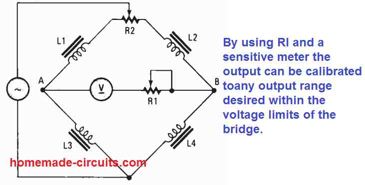 Adjustable range AC bridge circuit