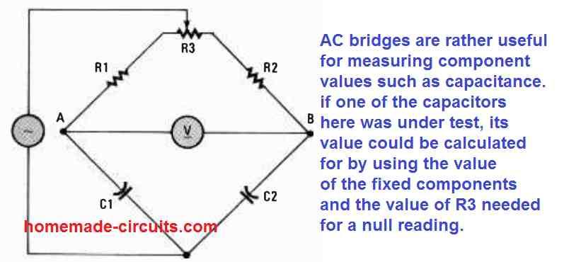 AC bridge circuit for measuring capacitance