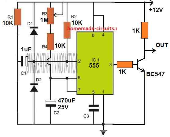 IC 555 monostable with inverted delay On