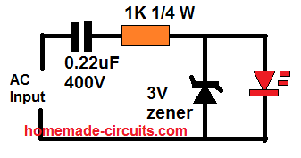 capacitive power for LED monitor circuit