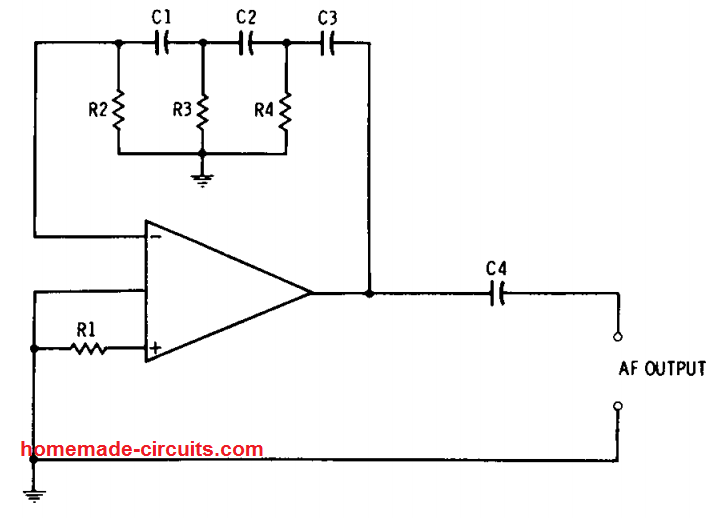 phase-shift resistance-capacitance audio frequency op amp oscillator circuit