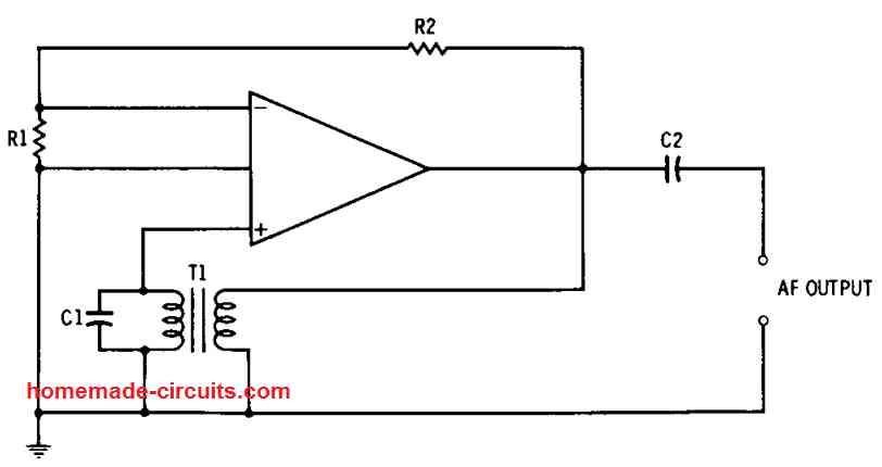 transformer feedback op amp AF oscillator