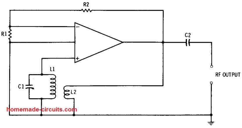 transformer feedback RF oscillator circuit using op amp