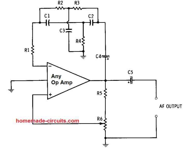 AF op amp oscillator twin-T null network