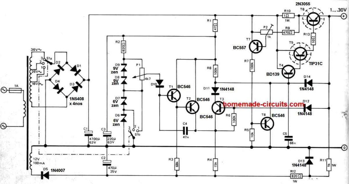 30 V bench power supply circuit