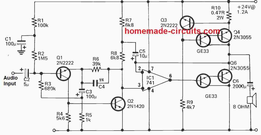 class A power amplifier circuit using 2N3055 transistors