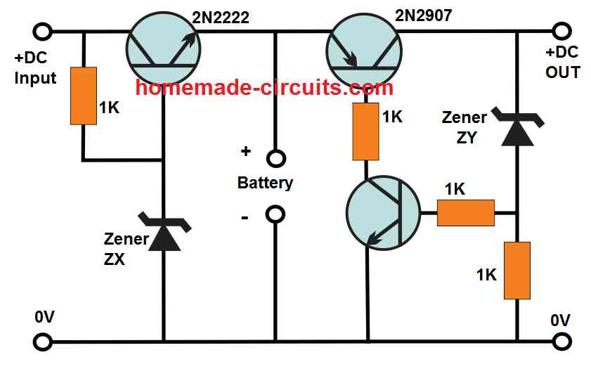 emergency light battery charger cut off circuit