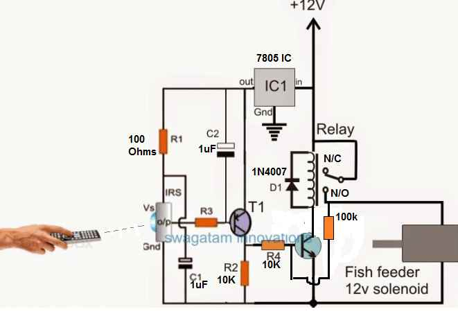fish feeder circuit with relay latched