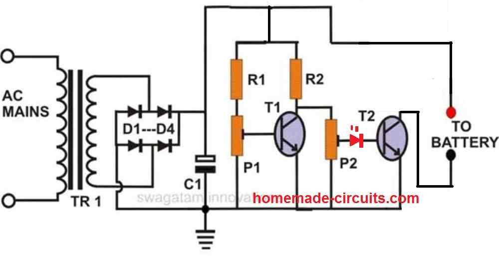 self regulating charger using only transistors