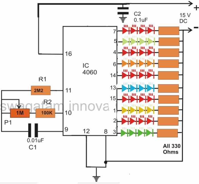 4060 IC based random multiple LED flasher circuit for Christmas tree decoration