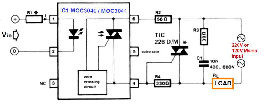 SSR circuit using MOC3040 and MOC3041