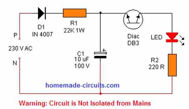 mains operated diac LED flkasher circuit
