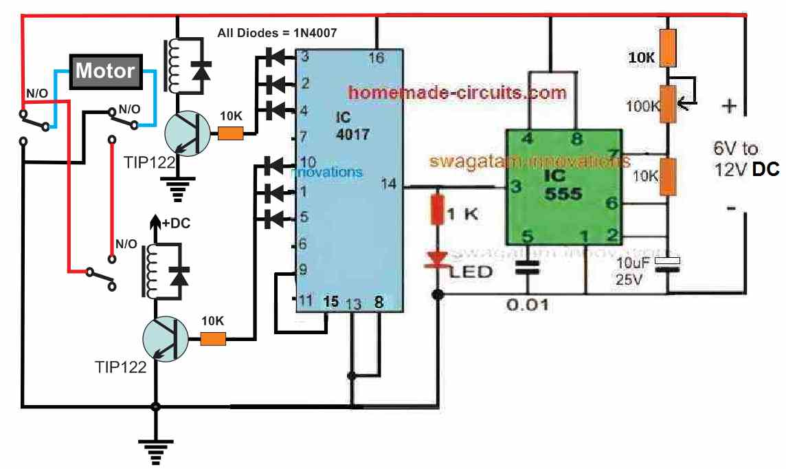 motor reverse forward with timer controlled ON OFF