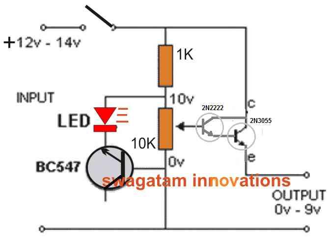 single 2N3055 regulated power supply circuit