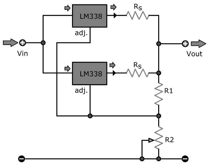 how to connect LM338 in parallel