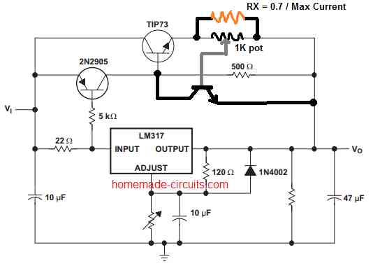 adding current control to LM317 circuit
