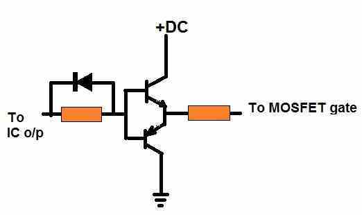 connecting BJT buffer to mosfet gate for improved switching