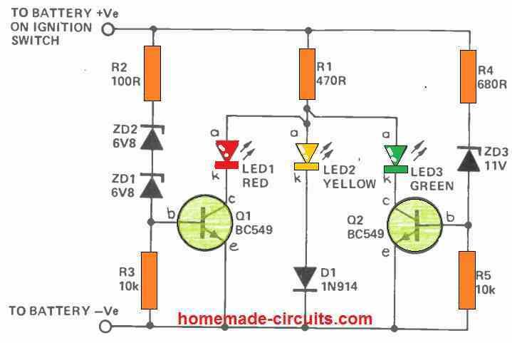 3 LED battery indicator using transistors