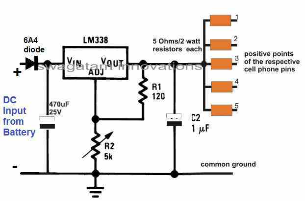 charging 4 cellphomes from a 12V motorcycle battery