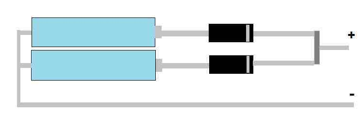connecting schottky diodes for battey protection