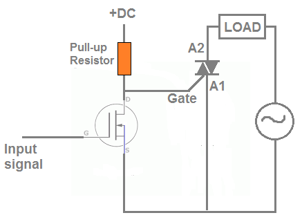 how to connect a triac with a MOSFET