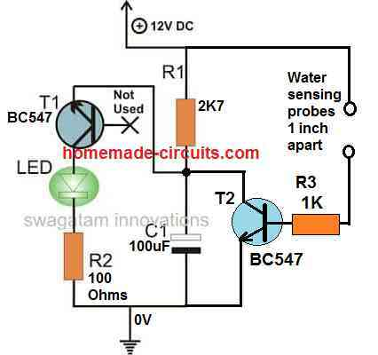 single transistor flasher water sensed with buzzer