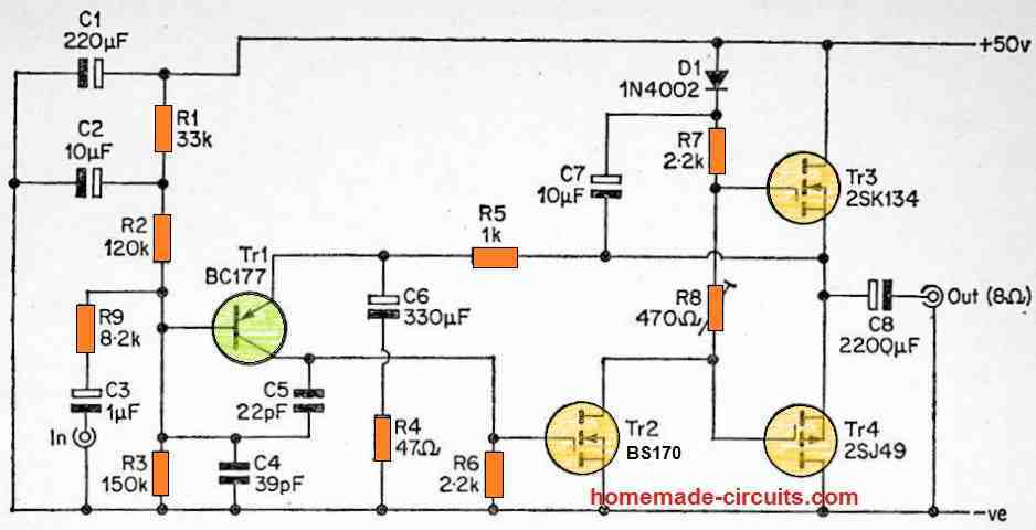 20 watt discrete mosfet amplifier circuit